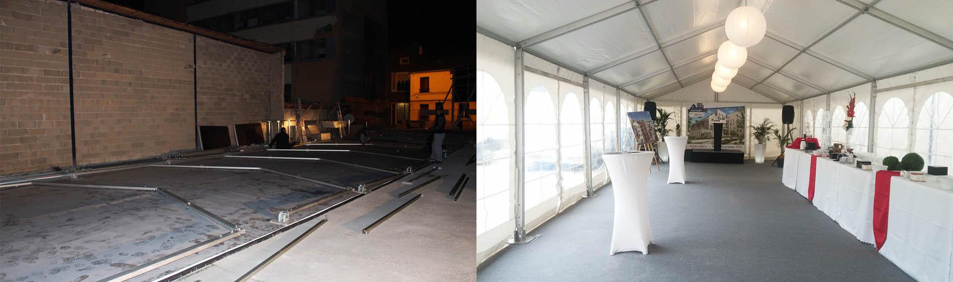 Avant-Après Inauguration K&B - Tente de réception