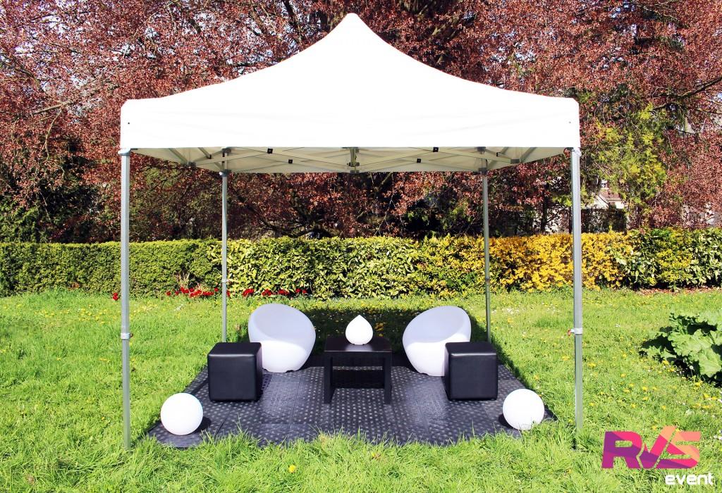 Location tente 3x3 + mobilier extérieur - RVS Event