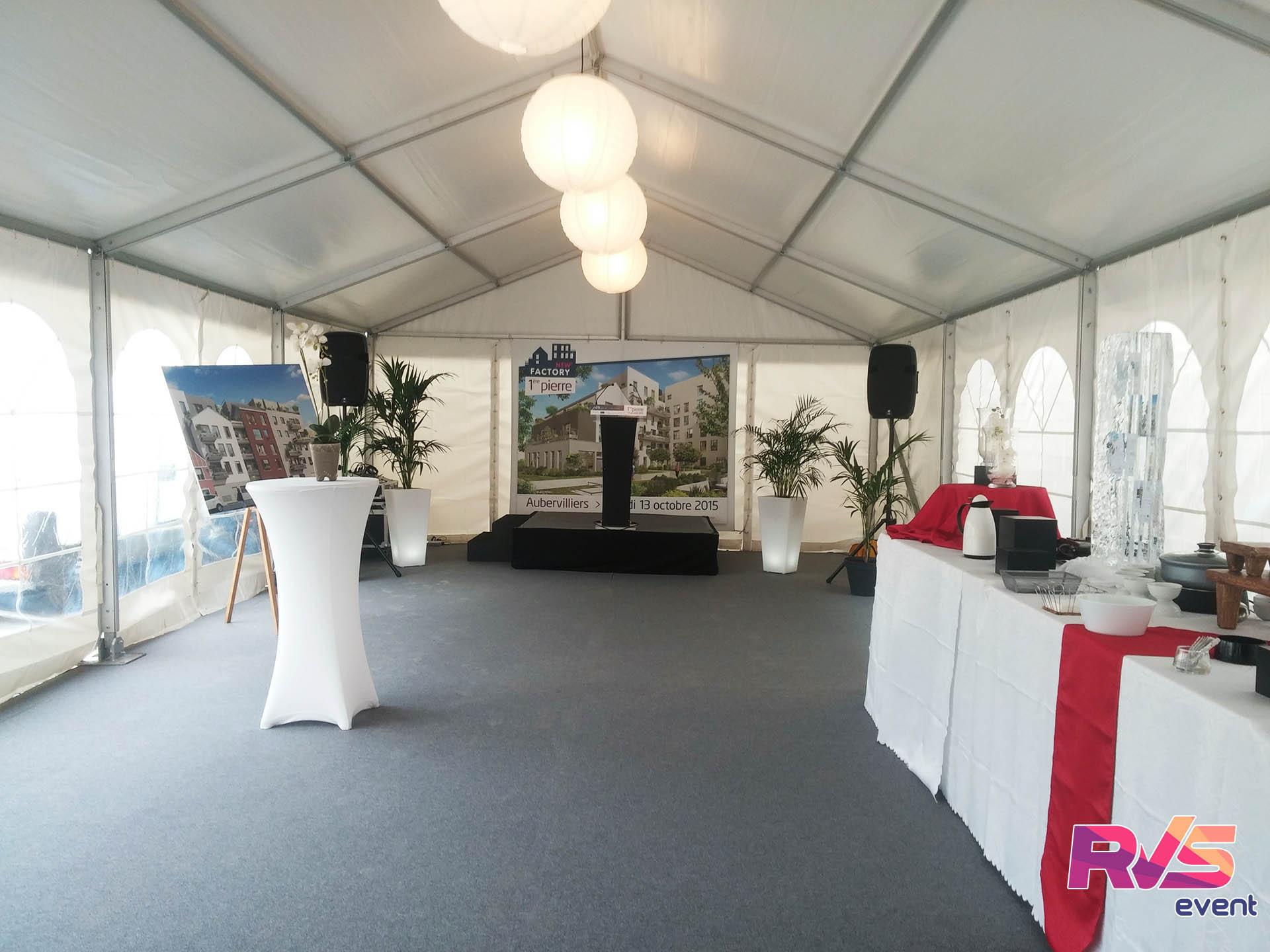 Inauguration sous barnum kaufman&broad   tente de réception